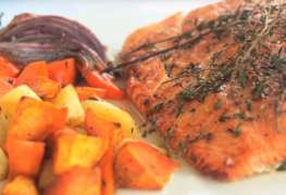 Roasted Salmon Honey & Fall Root Veg