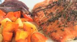 Roasted Salmon Honey & Fall Root Veg