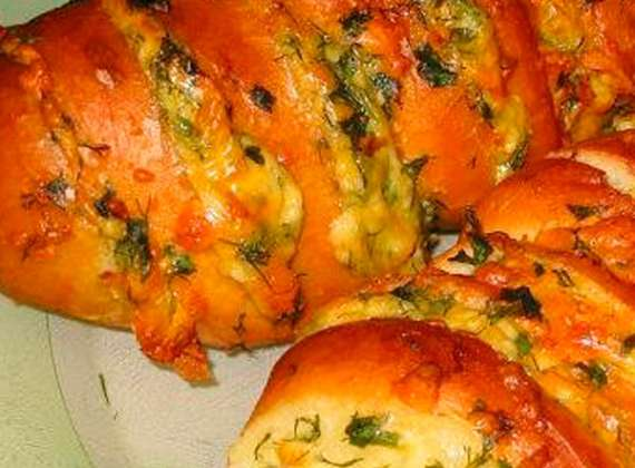 Baked Baton with cheese and garlic