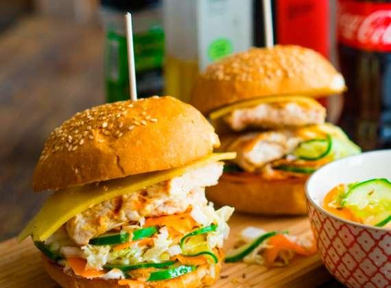 Hamburger with chicken breast